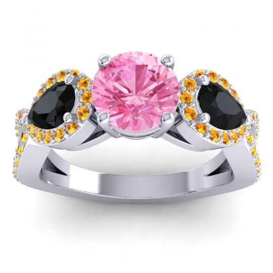 Pink Tourmaline Three Stone Pave Varsa Ring with Black Onyx and Citrine in 18k White Gold