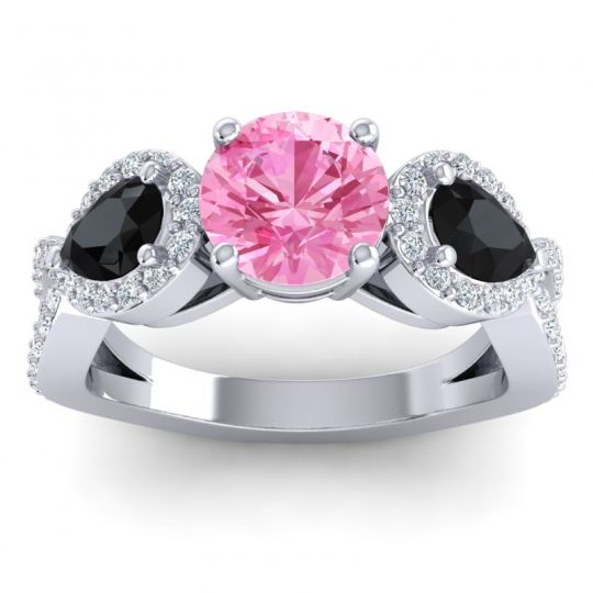Pink Tourmaline Three Stone Pave Varsa Ring with Black Onyx and Diamond in 14k White Gold