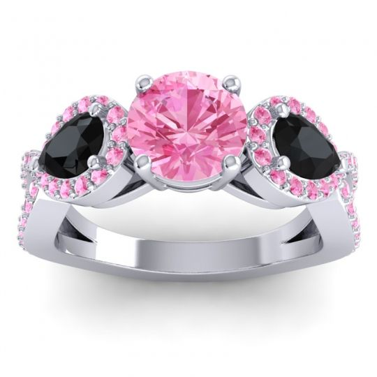 Pink Tourmaline Three Stone Pave Varsa Ring with Black Onyx in Platinum