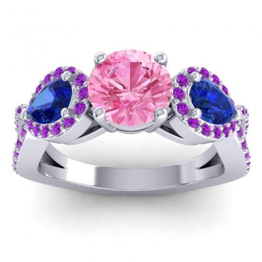 Three Stone Pave Varsa Pink Tourmaline Ring with Blue Sapphire and Amethyst in 18k White Gold
