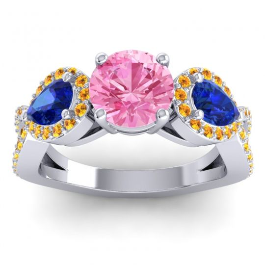 Pink Tourmaline Three Stone Pave Varsa Ring with Blue Sapphire and Citrine in Platinum