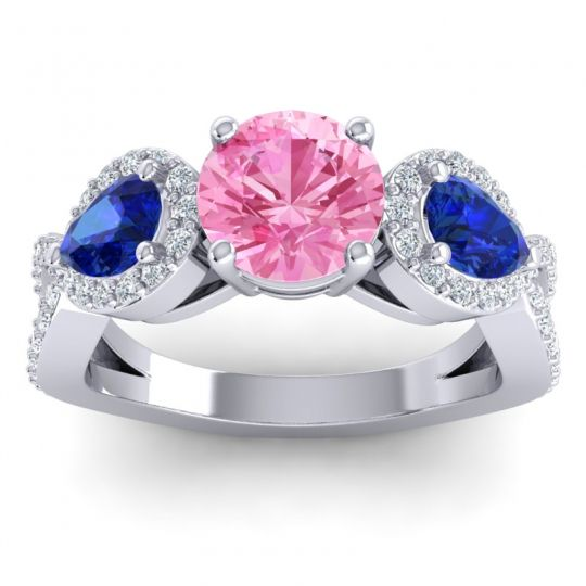 Pink Tourmaline Three Stone Pave Varsa Ring with Blue Sapphire and Diamond in 14k White Gold