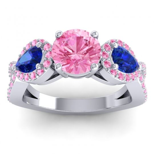 Pink Tourmaline Three Stone Pave Varsa Ring with Blue Sapphire in Platinum