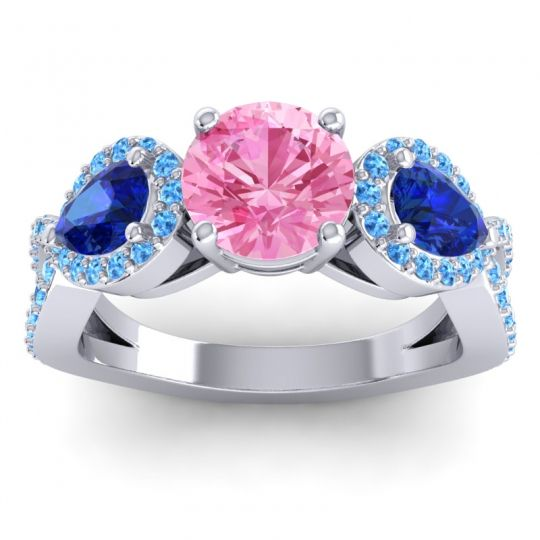 Pink Tourmaline Three Stone Pave Varsa Ring with Blue Sapphire and Swiss Blue Topaz in 14k White Gold