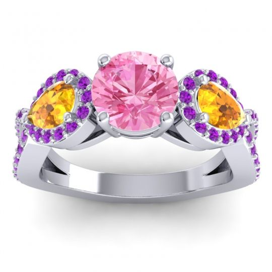 Pink Tourmaline Three Stone Pave Varsa Ring with Citrine and Amethyst in 18k White Gold