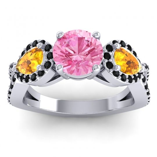 Pink Tourmaline Three Stone Pave Varsa Ring with Citrine and Black Onyx in Platinum