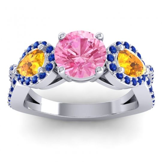 Pink Tourmaline Three Stone Pave Varsa Ring with Citrine and Blue Sapphire in Platinum