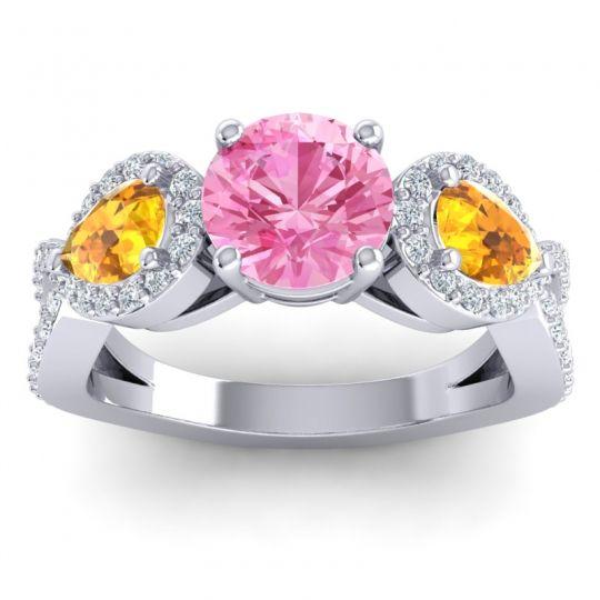 Pink Tourmaline Three Stone Pave Varsa Ring with Citrine and Diamond in Palladium