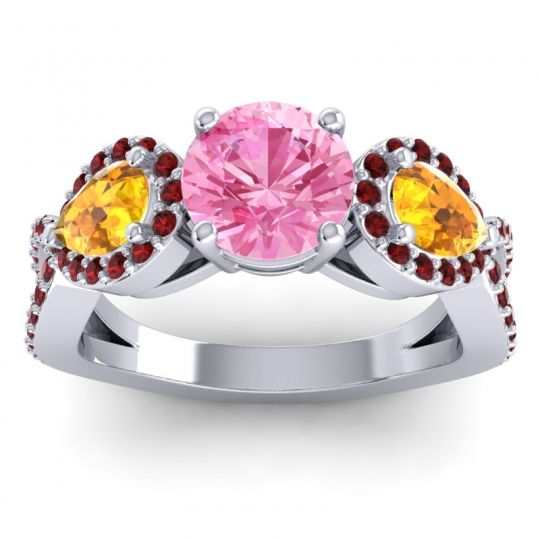 Pink Tourmaline Three Stone Pave Varsa Ring with Citrine and Garnet in 18k White Gold