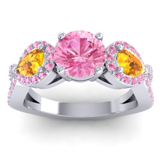 Pink Tourmaline Three Stone Pave Varsa Ring with Citrine in Palladium