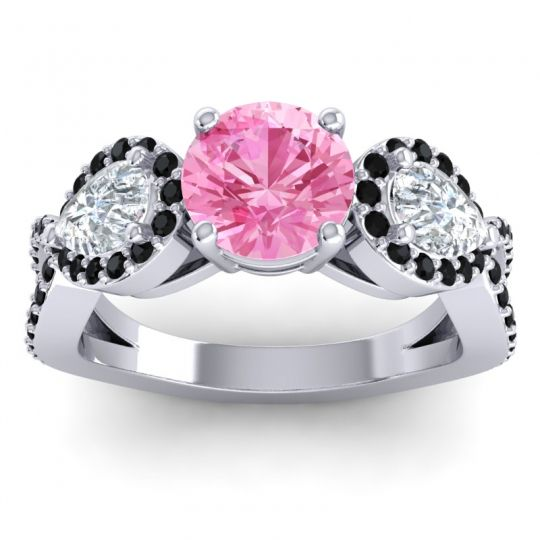 Three Stone Pave Varsa Pink Tourmaline Ring with Diamond and Black Onyx in Palladium