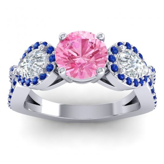 Three Stone Pave Varsa Pink Tourmaline Ring with Diamond and Blue Sapphire in 18k White Gold