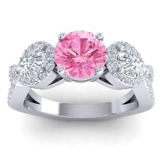 Pink Tourmaline Three Stone Pave Varsa Ring with Diamond in 18k White Gold