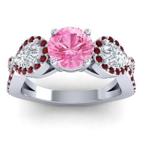 Pink Tourmaline Three Stone Pave Varsa Ring with Diamond and Garnet in 14k White Gold