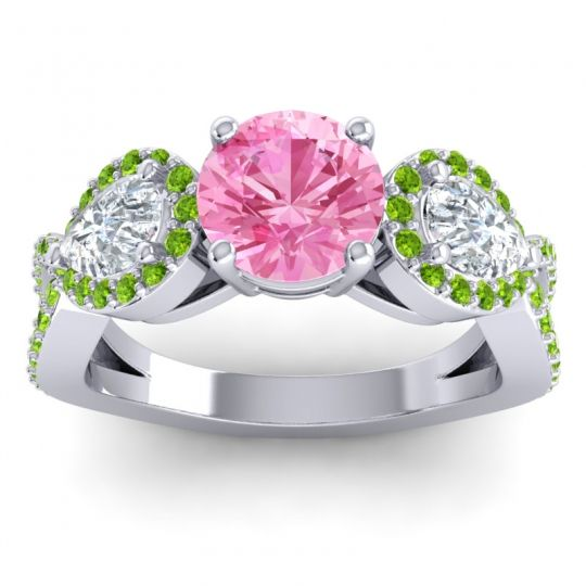 Pink Tourmaline Three Stone Pave Varsa Ring with Diamond and Peridot in Palladium