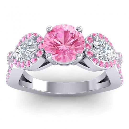 Pink Tourmaline Three Stone Pave Varsa Ring with Diamond in 14k White Gold