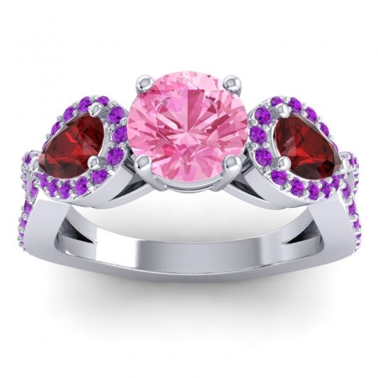 Pink Tourmaline Three Stone Pave Varsa Ring with Garnet and Amethyst in Palladium