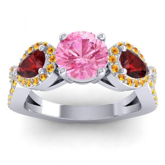 Pink Tourmaline Three Stone Pave Varsa Ring with Garnet and Citrine in 18k White Gold