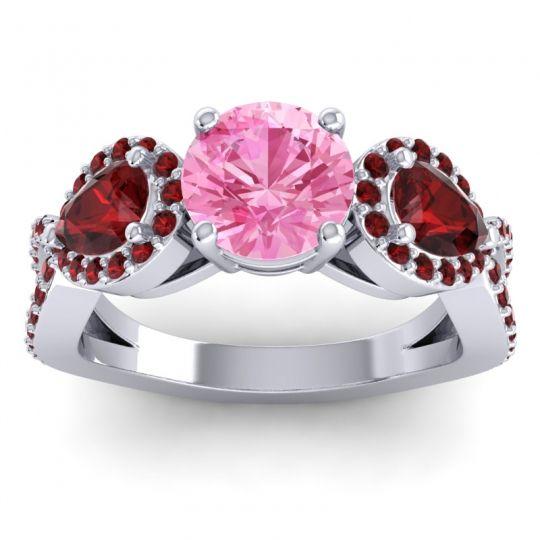Pink Tourmaline Three Stone Pave Varsa Ring with Garnet in 14k White Gold
