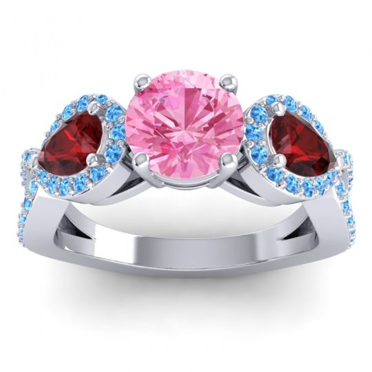Pink Tourmaline Three Stone Pave Varsa Ring with Garnet and Swiss Blue Topaz in 14k White Gold