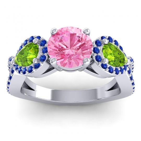 Three Stone Pave Varsa Pink Tourmaline Ring with Peridot and Blue Sapphire in Palladium