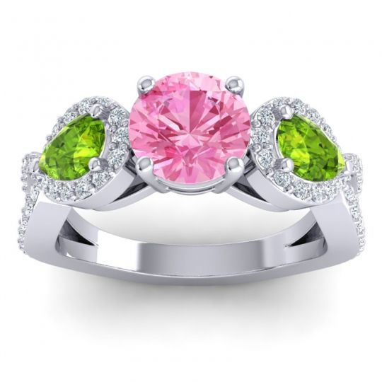 Pink Tourmaline Three Stone Pave Varsa Ring with Peridot and Diamond in 14k White Gold