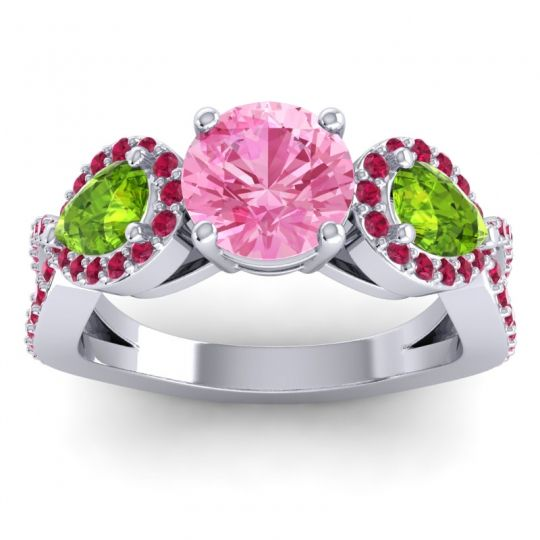 Pink Tourmaline Three Stone Pave Varsa Ring with Peridot and Ruby in Platinum