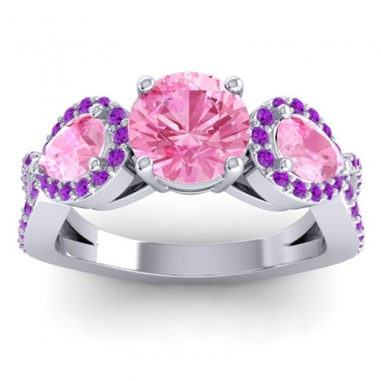 Three Stone Pave Varsa Pink Tourmaline Ring with Amethyst in 14k White Gold
