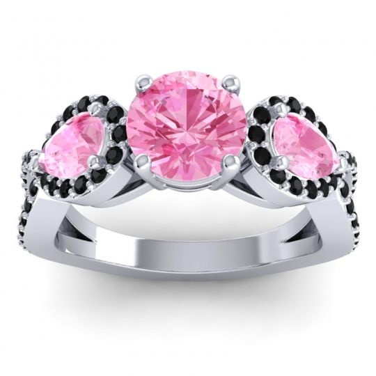 Pink Tourmaline Three Stone Pave Varsa Ring with Black Onyx in 14k White Gold