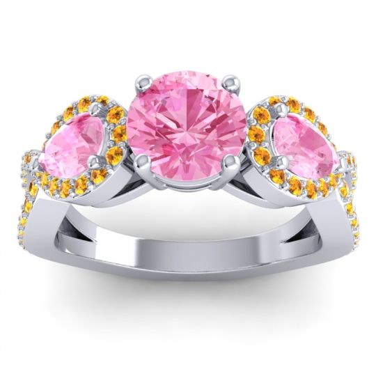 Pink Tourmaline Three Stone Pave Varsa Ring with Citrine in 14k White Gold