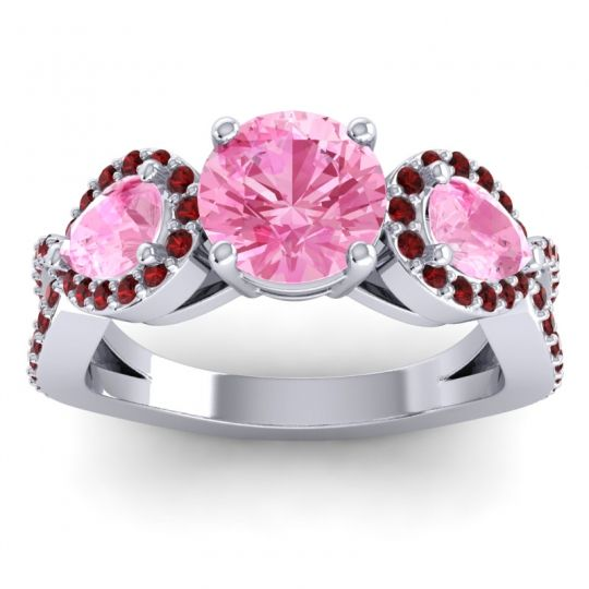 Pink Tourmaline Three Stone Pave Varsa Ring with Garnet in 14k White Gold