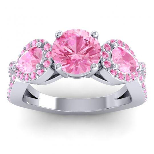 Pink Tourmaline Three Stone Pave Varsa Ring in Palladium
