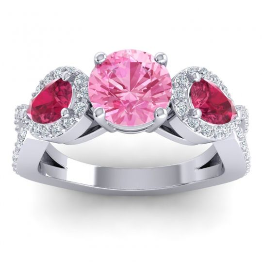 Pink Tourmaline Three Stone Pave Varsa Ring with Ruby and Diamond in 14k White Gold