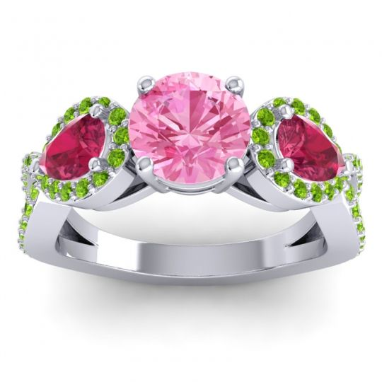 Pink Tourmaline Three Stone Pave Varsa Ring with Ruby and Peridot in Platinum