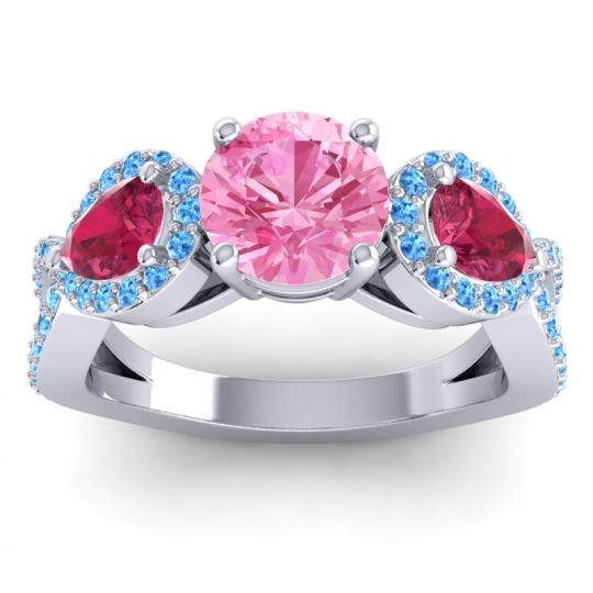 Pink Tourmaline Three Stone Pave Varsa Ring with Ruby and Swiss Blue Topaz in 18k White Gold