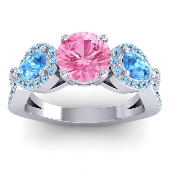Pink Tourmaline Three Stone Pave Varsa Ring with Swiss Blue Topaz and Aquamarine in 18k White Gold