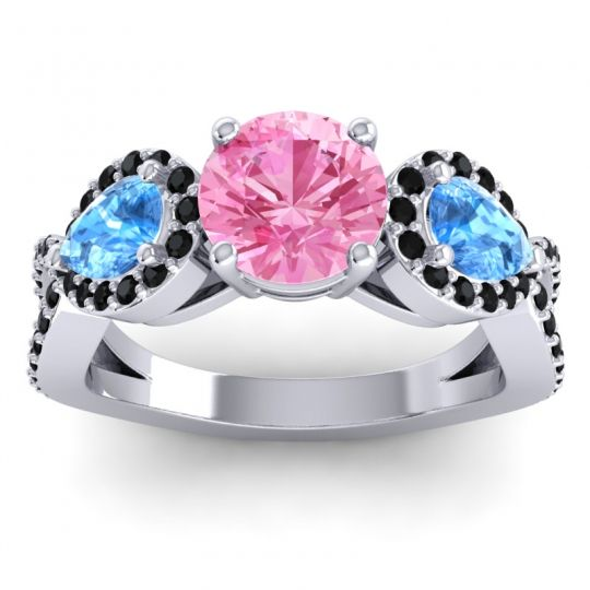 Three Stone Pave Varsa Pink Tourmaline Ring with Swiss Blue Topaz and Black Onyx in 18k White Gold