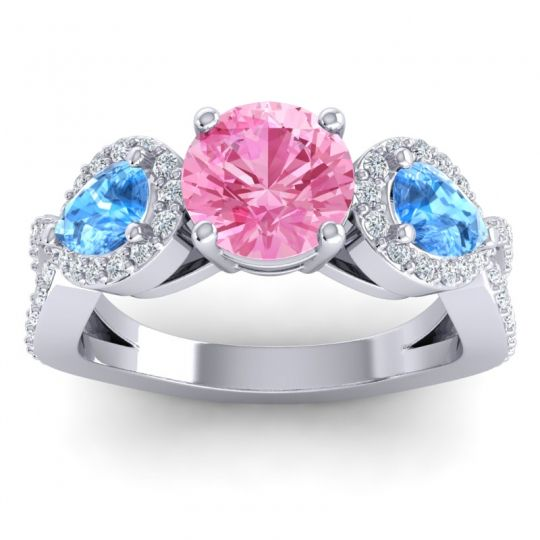 Pink Tourmaline Three Stone Pave Varsa Ring with Swiss Blue Topaz and Diamond in 18k White Gold