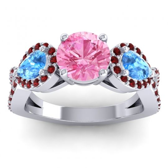 Three Stone Pave Varsa Pink Tourmaline Ring with Swiss Blue Topaz and Garnet in 18k White Gold