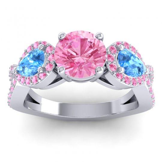 Pink Tourmaline Three Stone Pave Varsa Ring with Swiss Blue Topaz in Platinum