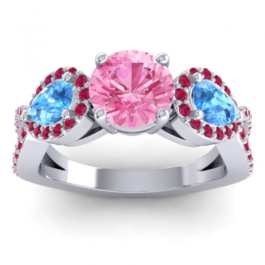 Pink Tourmaline Three Stone Pave Varsa Ring with Swiss Blue Topaz and Ruby in 18k White Gold