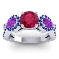 Three Stone Pave Varsa Ruby Ring with Amethyst and Blue Sapphire in 18k White Gold