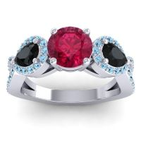 Three Stone Pave Varsa Ruby Ring with Black Onyx and Aquamarine in 18k White Gold