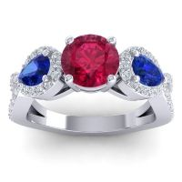 Three Stone Pave Varsa Ruby Ring with Blue Sapphire and Diamond in Palladium