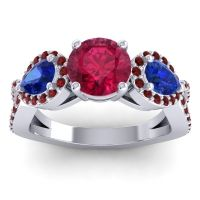 Three Stone Pave Varsa Ruby Ring with Blue Sapphire and Garnet in Platinum