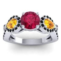 Three Stone Pave Varsa Ruby Ring with Citrine and Black Onyx in Platinum