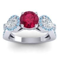 Three Stone Pave Varsa Ruby Ring with Diamond and Aquamarine in 18k White Gold