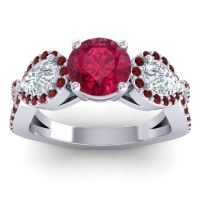 Three Stone Pave Varsa Ruby Ring with Diamond and Garnet in 18k White Gold