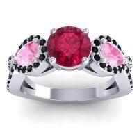 Three Stone Pave Varsa Ruby Ring with Pink Tourmaline and Black Onyx in Palladium