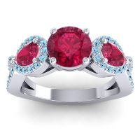 Three Stone Pave Varsa Ruby Ring with Aquamarine in 18k White Gold
